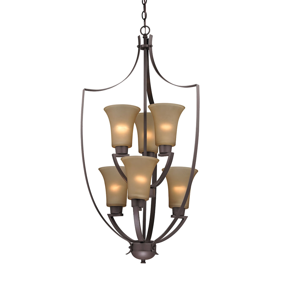 Foyer 6-Light Chandelier in Oil Rubbed Bronze with Light Amber Glass