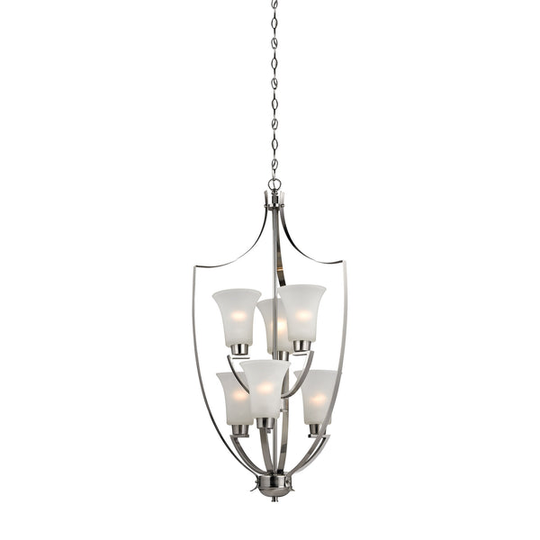 Foyer 6 Light Chandelier In Brushed Nickel