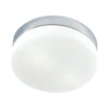 1 Light Flush Mount In Chrome And White Glass - Lumiere Lamps