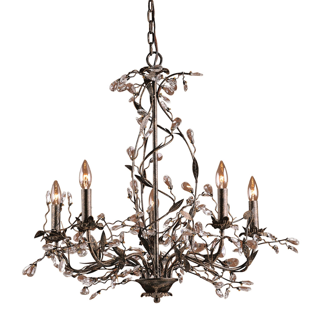 Circeo 5-Light Chandelier with Branches in Deep Rust