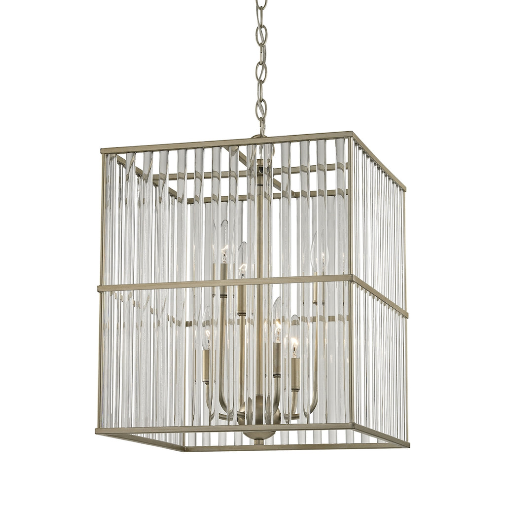 Ridley 6 Light Chandelier in Aged Silver with Oval Glass Rods