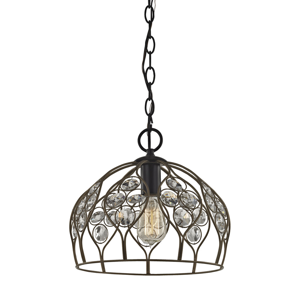 Crystal Web 1 Light Penant in Bronze Gold and Matte Black with Clear Crystal - Includes Recessed Lig