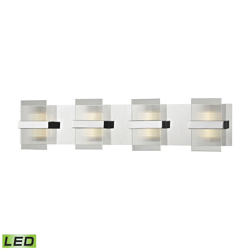 Desiree Integrated LED Vanity in Polished Chrome with Clear Lined Glass
