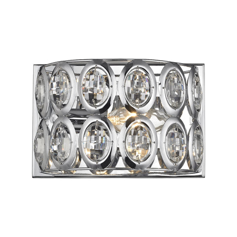 Tessa 1 Light Vanity in Polished Chrome with Clear Crystal