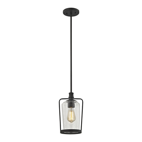 Hamel 1 Light Pendant in Oil Rubbed Bronze with Clear Seedy Glass - Includes Recessed Lighting Kit