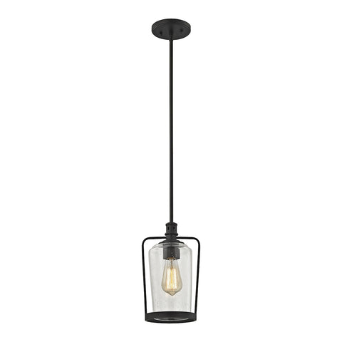 Hamel 1-Light Mini Pendant in Oil Rubbed Bronze with Clear Seedy Glass