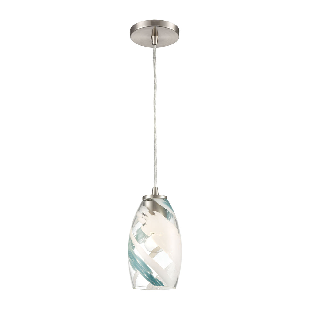Turbulence 1-Light Mini Pendant in Satin Nickel with Clear Glass with Aqua Blue and White Swirls