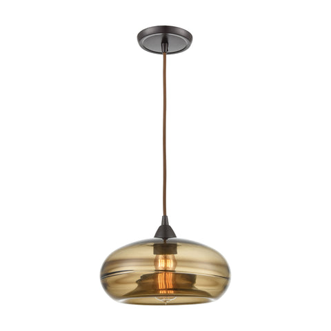 Hazelton 1-Light Mini Pendant in Oil Rubbed Bronze with Earth Brown Fused Glass