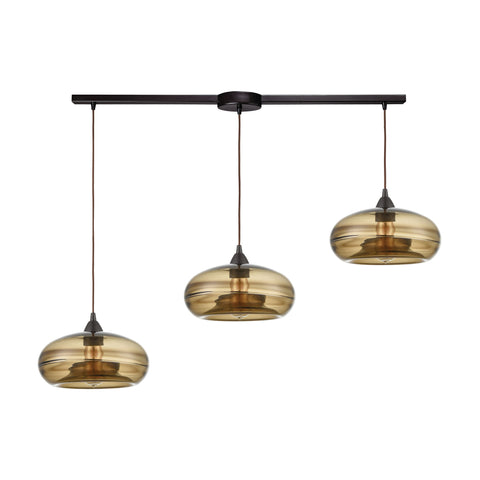 Hazelton 3-Light Pendant in Oil Rubbed Bronze with Earth Brown Fused Glass