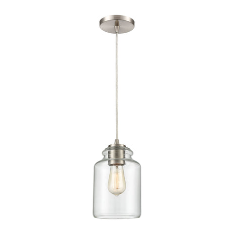 Josie 1-Light Mini Pendant in Satin Nickel with Clear Glass