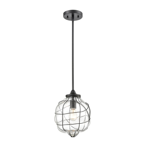 Adorn 1-Light Mini Pendant in Oil Rubbed Bronze with Clear Seedy Glass