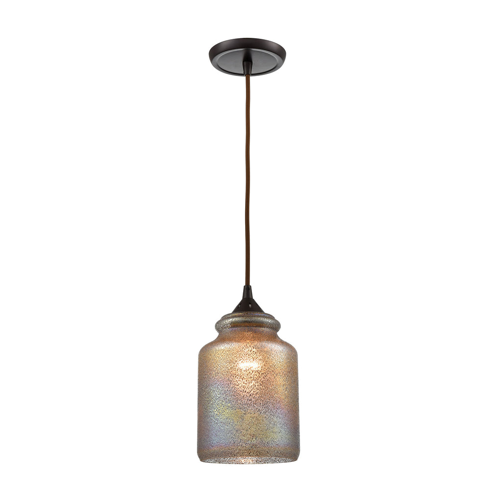 Illuminessence 1-Light Mini Pendant in Oil Rubbed Bronze with Textured Gray Dichroic Glass