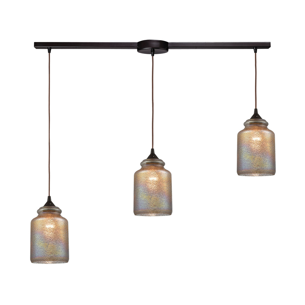 Illuminessence 3-Light Pendant in Oil Rubbed Bronze with Textured Gray Dichroic Glass