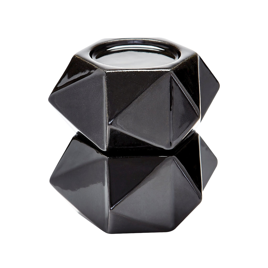 Large Ceramic Star Candle Holders In Black - Set of 2