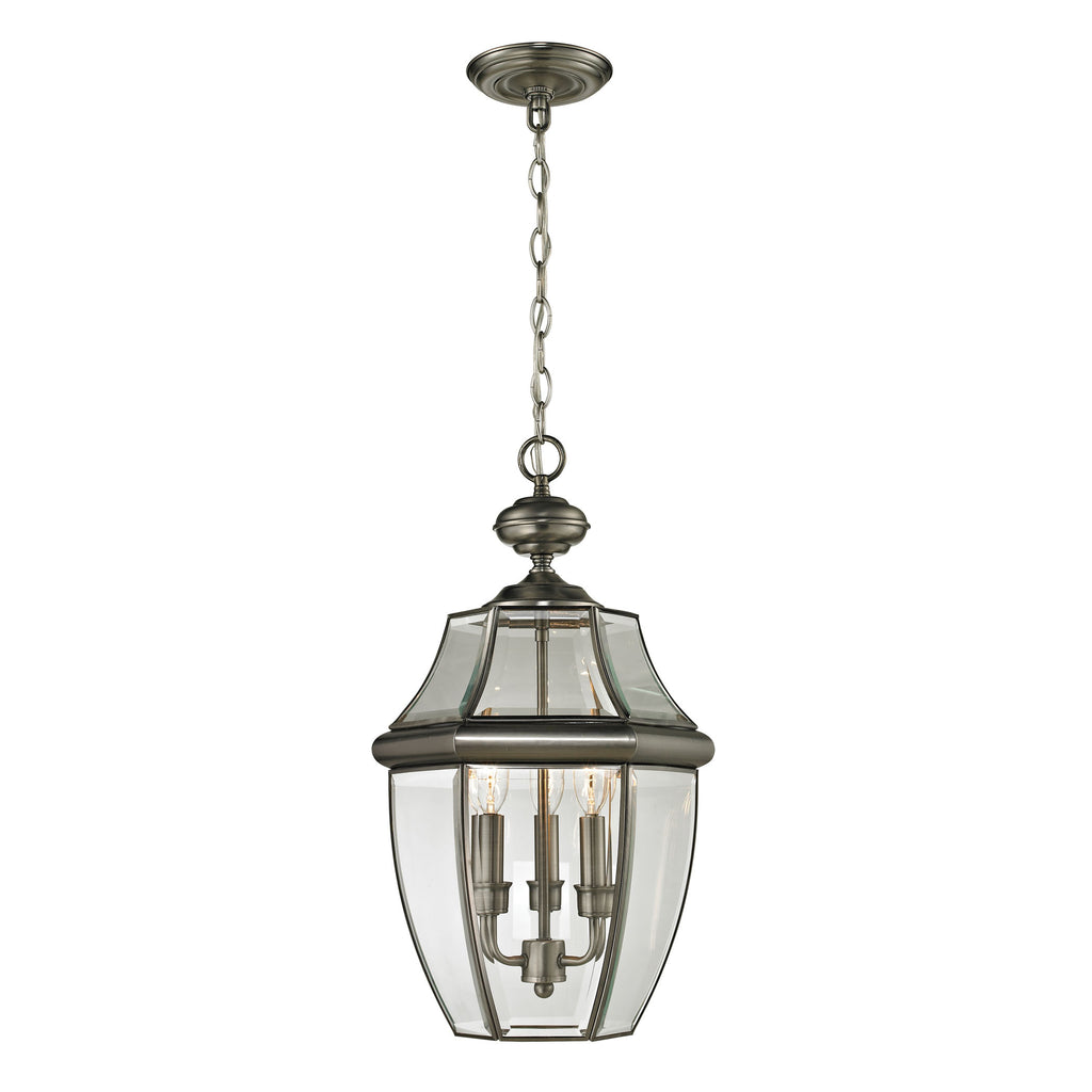 Ashford 3 Light Outdoor Pendant In Antique Nickel