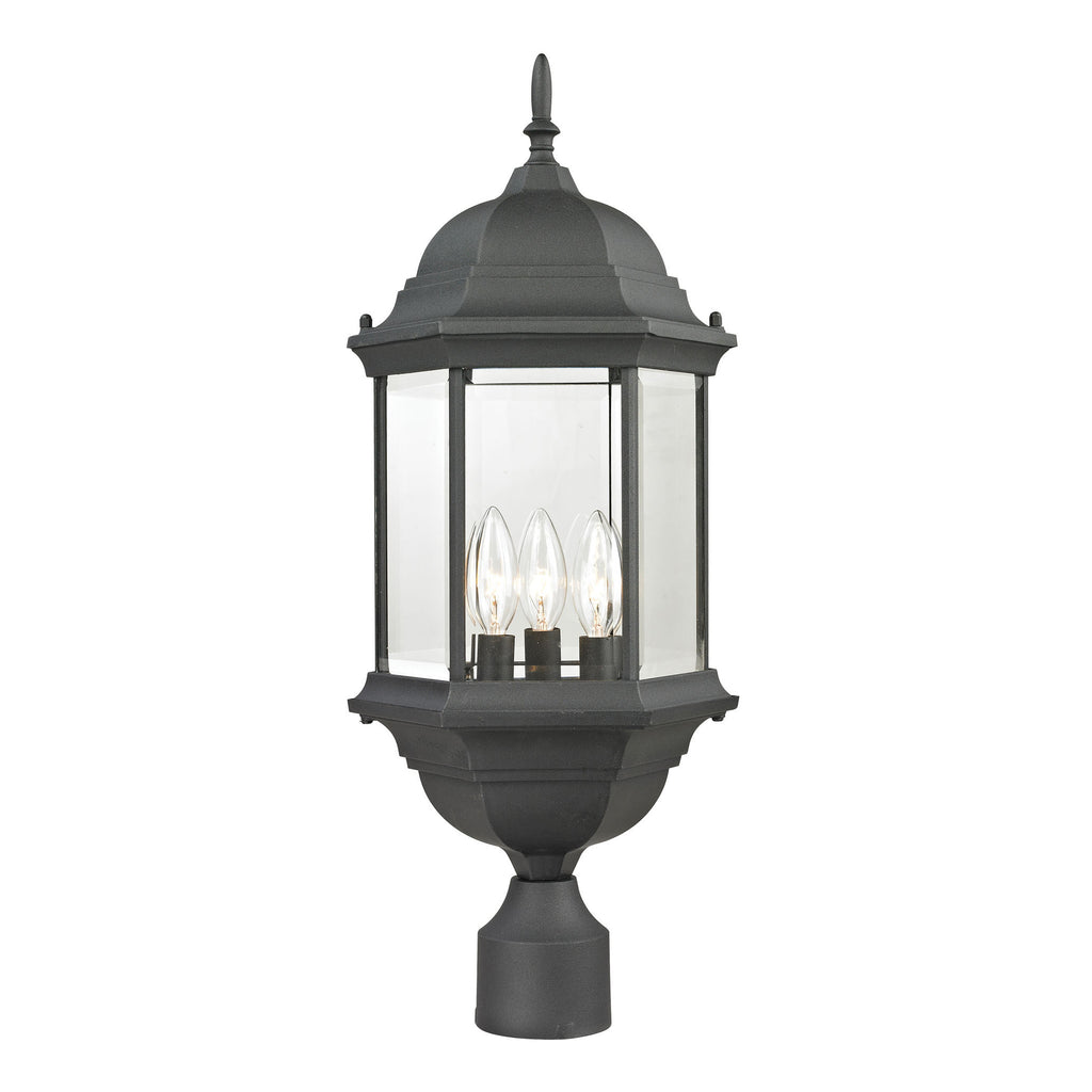 Spring Lake 3 Light Exterior Post Lantern In Matte Textured Black