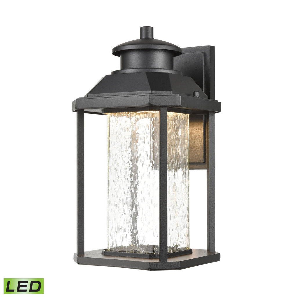 Irvine 1-Light Sconce in Matte Black with Seedy Glass