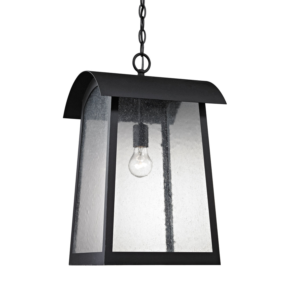Prince Street 1 Light Outdoor Pendant In Matte Black