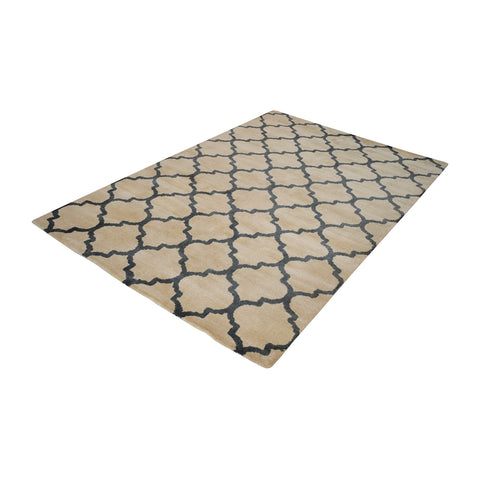 Wego Handwoven Printed Wool Rug In Natural And Black - 8ft x 10ft