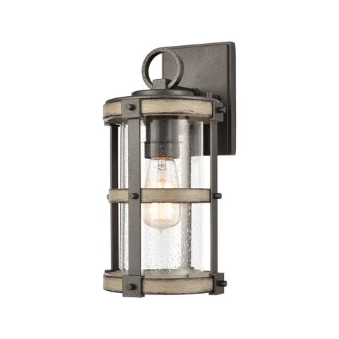 Crenshaw 1-Light Outdoor Sconce in Anvil Iron and Distressed Antique Graywood with Seedy Glass