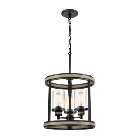 Beaufort 3-Light Pendant in Anvil Iron and Distressed Antique Graywood with Seedy Glass