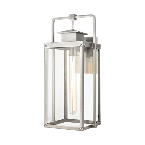 Crested Butte 1-Light Outdoor Sconce in Antique Brushed Aluminum with Clear Glass Enclosure