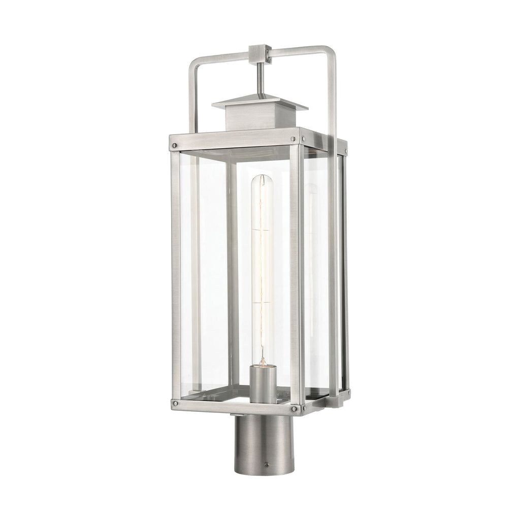 Crested Butte 1-Light Outdoor Post Mount in Antique Brushed Aluminum with Clear Glass Enclosure