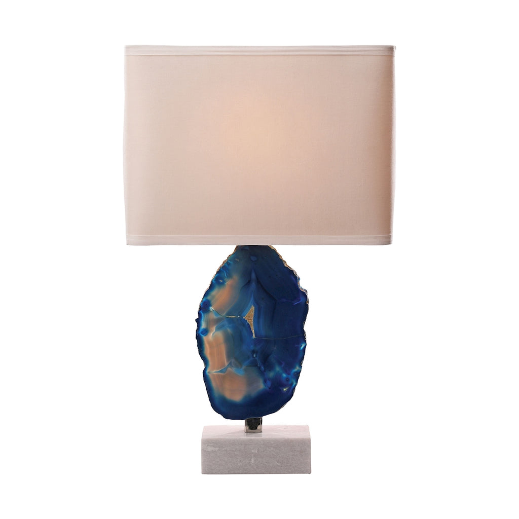 Minoa 1 Light Table Lamp In Blue Agate And Marble