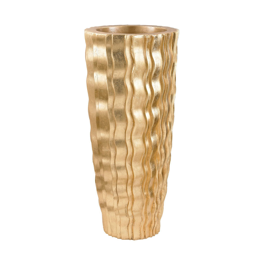 Small Gold Wave Vessel