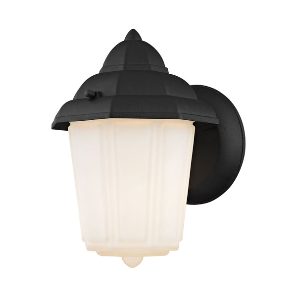 1 Light Outdoor Wall Sconce In Matte Black And White Glass