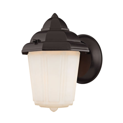 1 Light Outdoor Wall Sconce In Oil Rubbed Bronze And White Glass