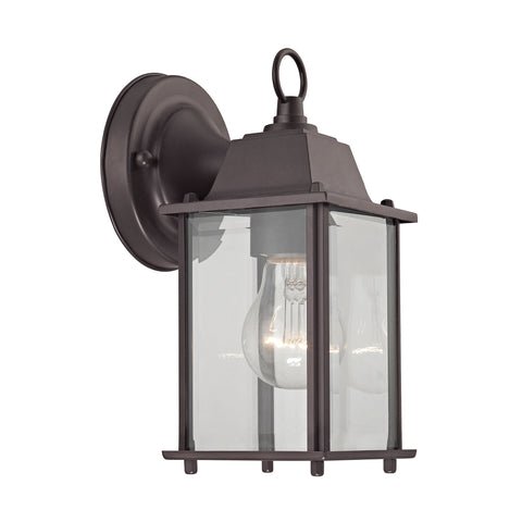 1 Light Outdoor Wall Sconce In Oil Rubbed Bronze And Clear Glass