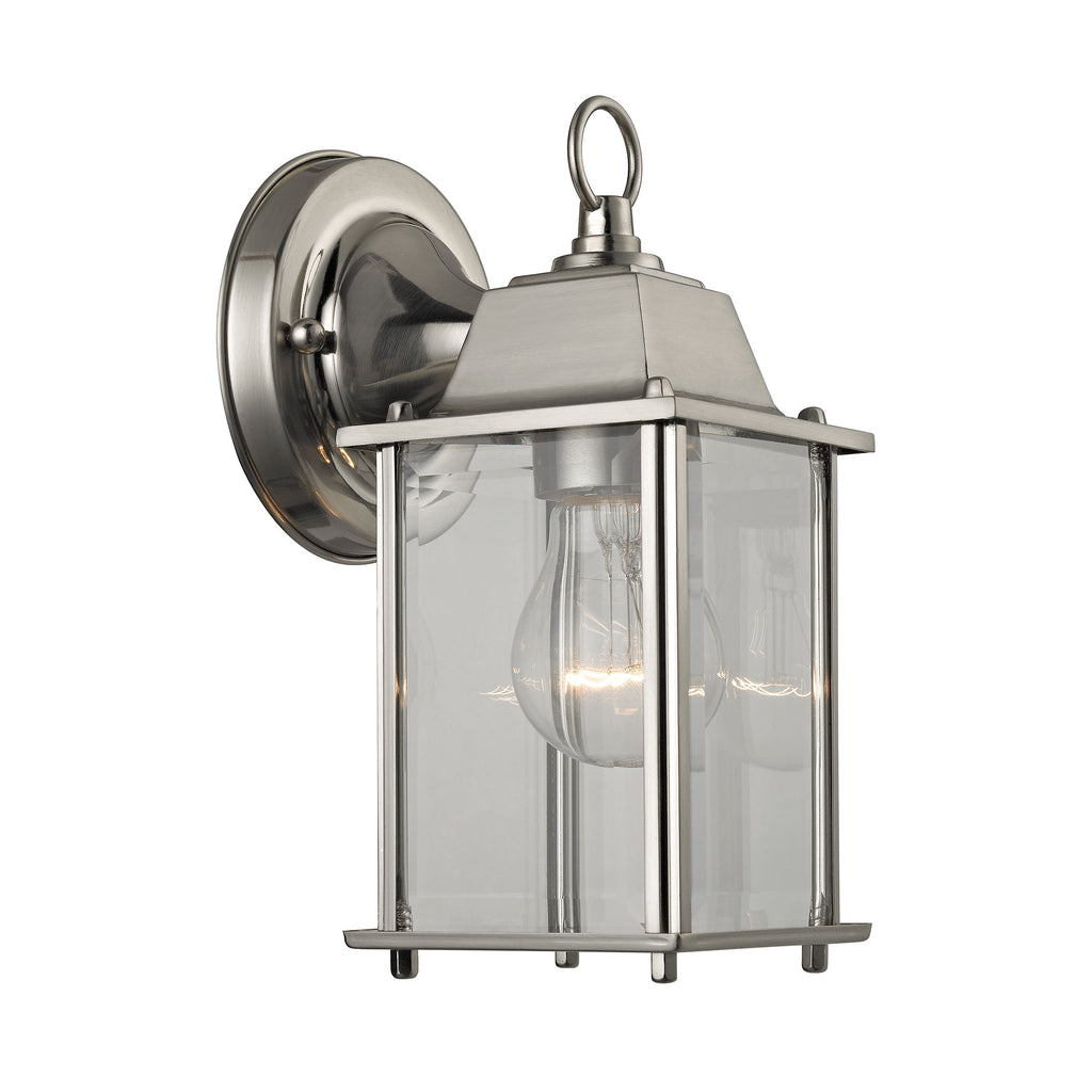 1 Light Outdoor Wall Sconce In Brushed Nickel And Clear Glass