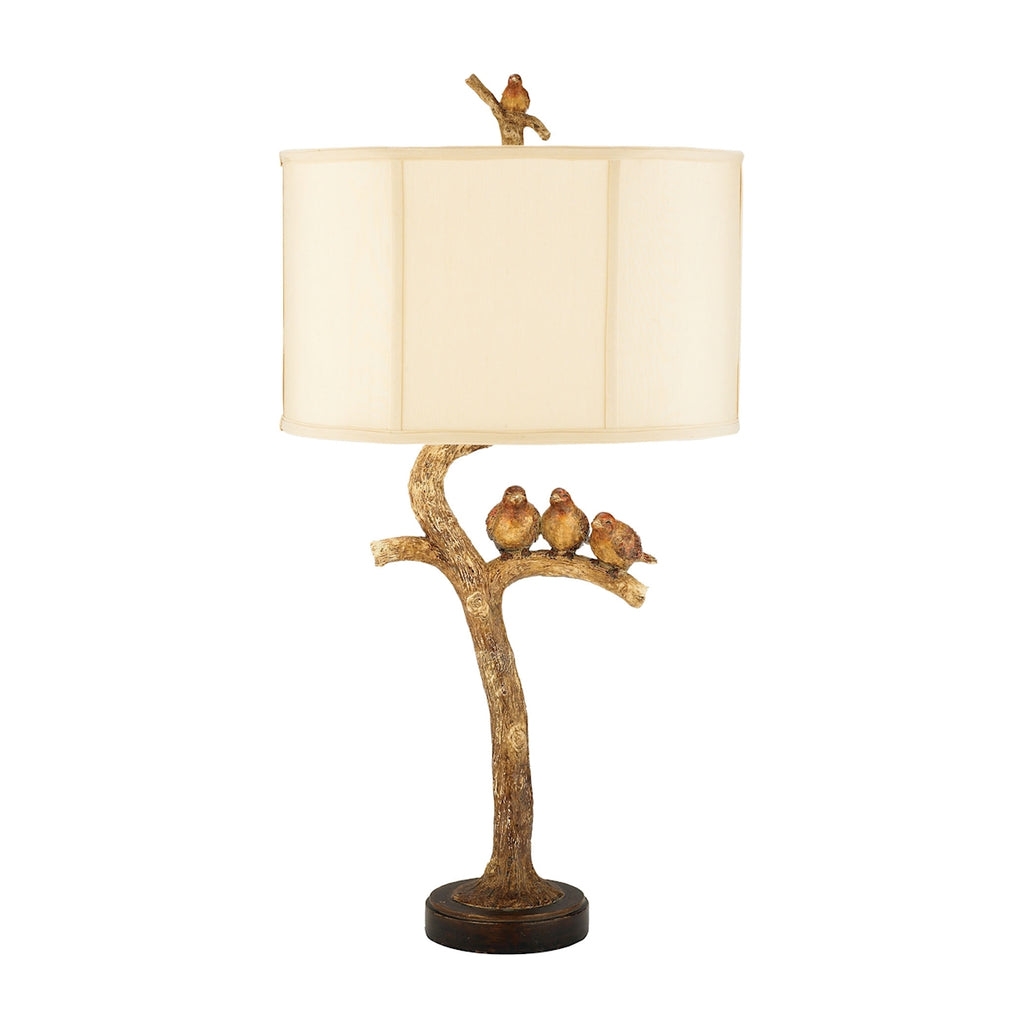 Three Bird 1 Light Table Lamp in Gold Leaf And Black