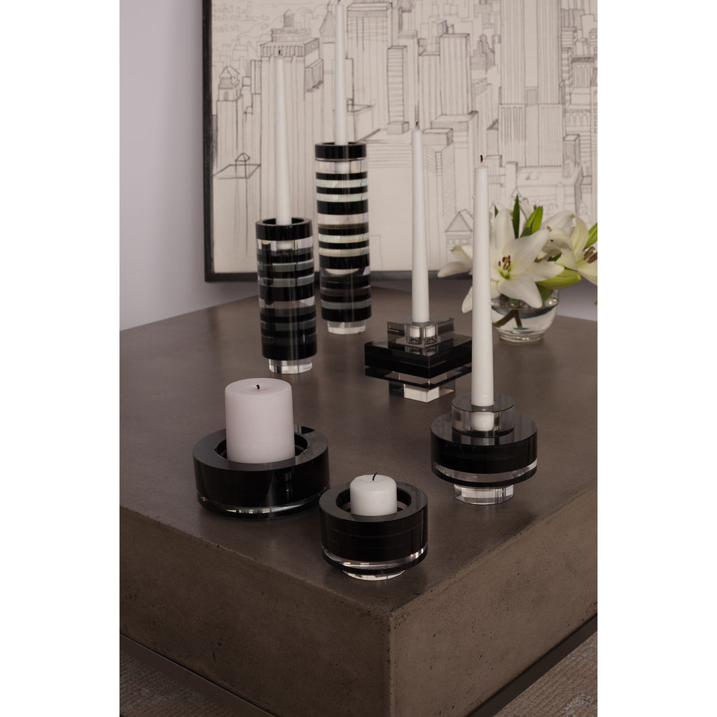 Tuxedo Crystal Pedestal Candleholders (Set of 2) - Square
