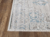 Traditional Distressed Ivory and Light Blue