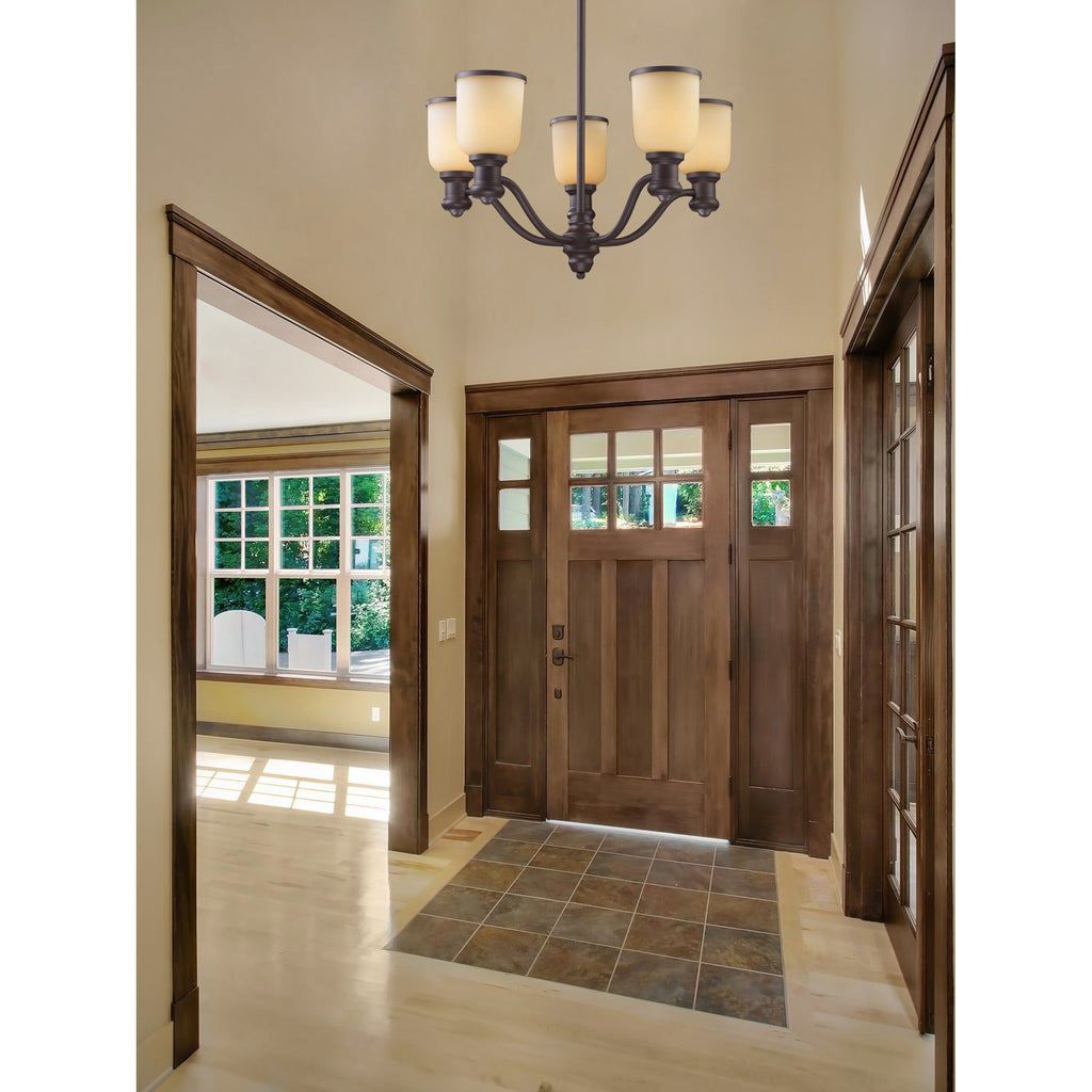 Brooksdale 5 Light Chandelier In Oiled Bronze And Amber Glass - Lumiere Lamps