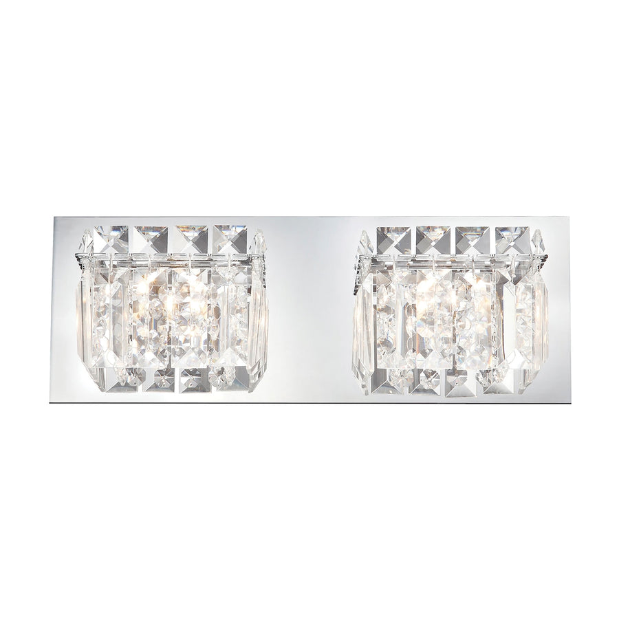 Crown Vanity - 2 Light Clear Crystal glass/ Chrome finish