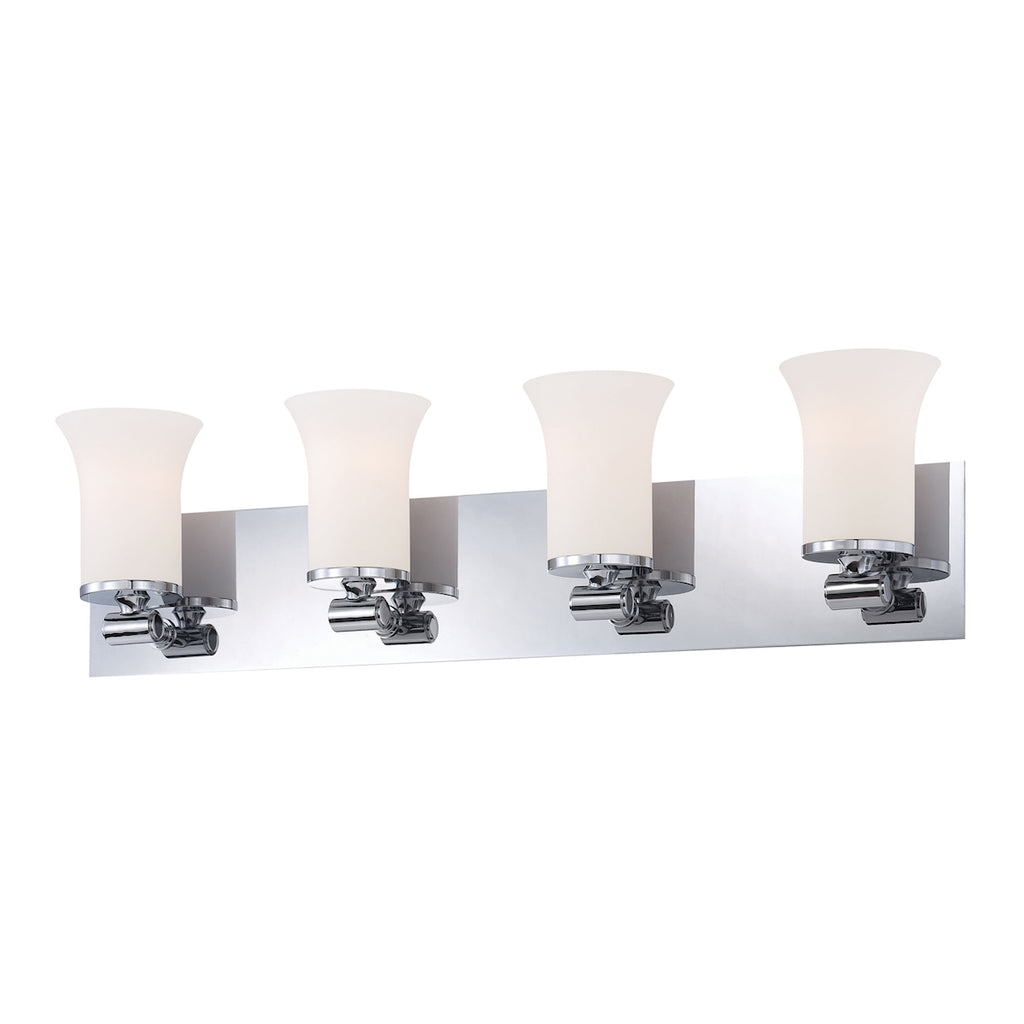 Flare 4-Light Vanity Sconce in Chrome with White Opal Glass