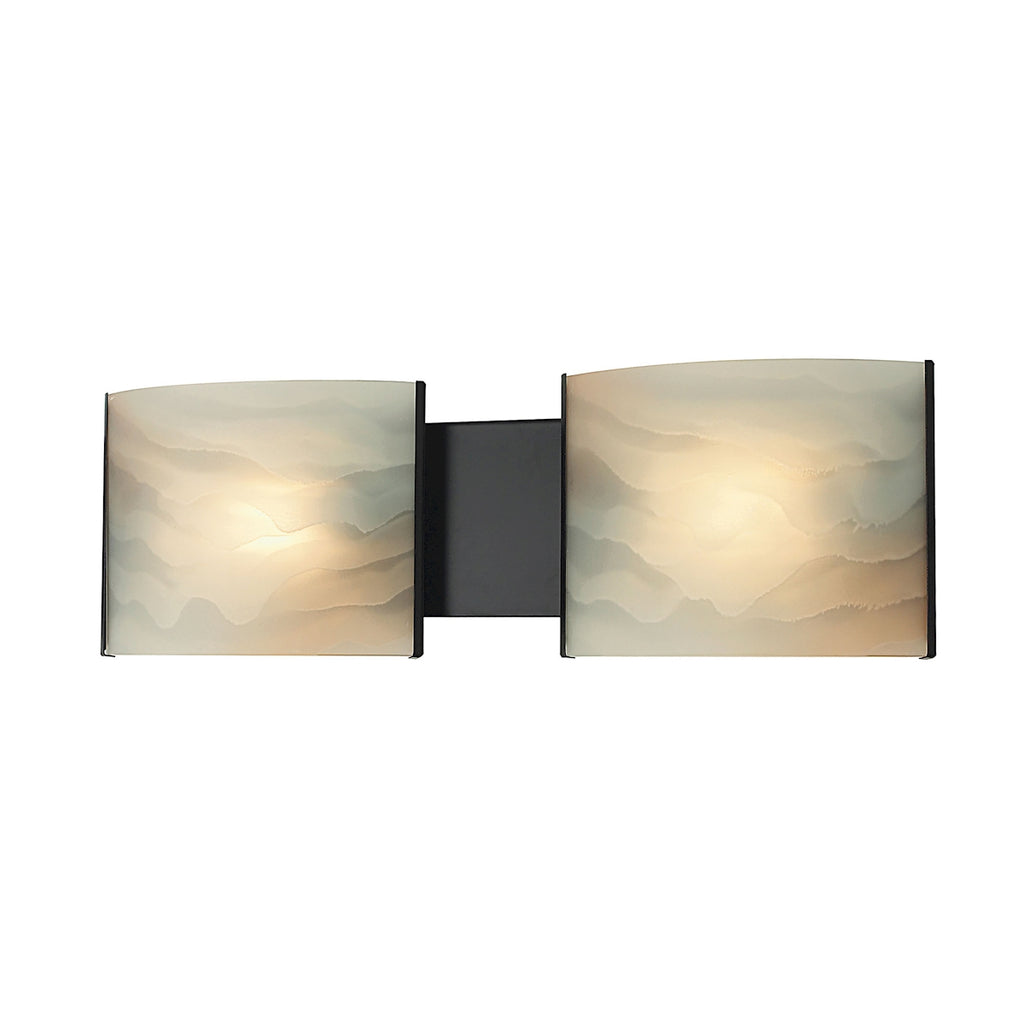 Pannelli 2-Light Vanity Sconce in Oil Rubbed Bronze with Hand-formed Honey Alabaster Glass