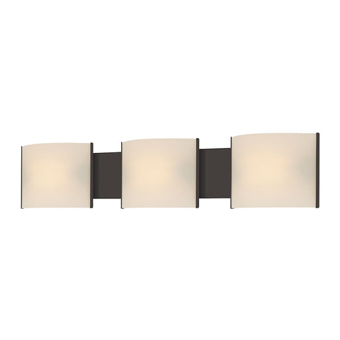 Pannelli 3-Light Vanity Sconce in Oil Rubbed Bronze with Hand-formed White Opal Glass