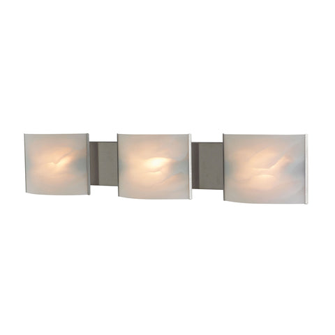 Pannelli 3-Light Vanity Sconce in Stainless Steel with Hand-formed White Alabaster Glass