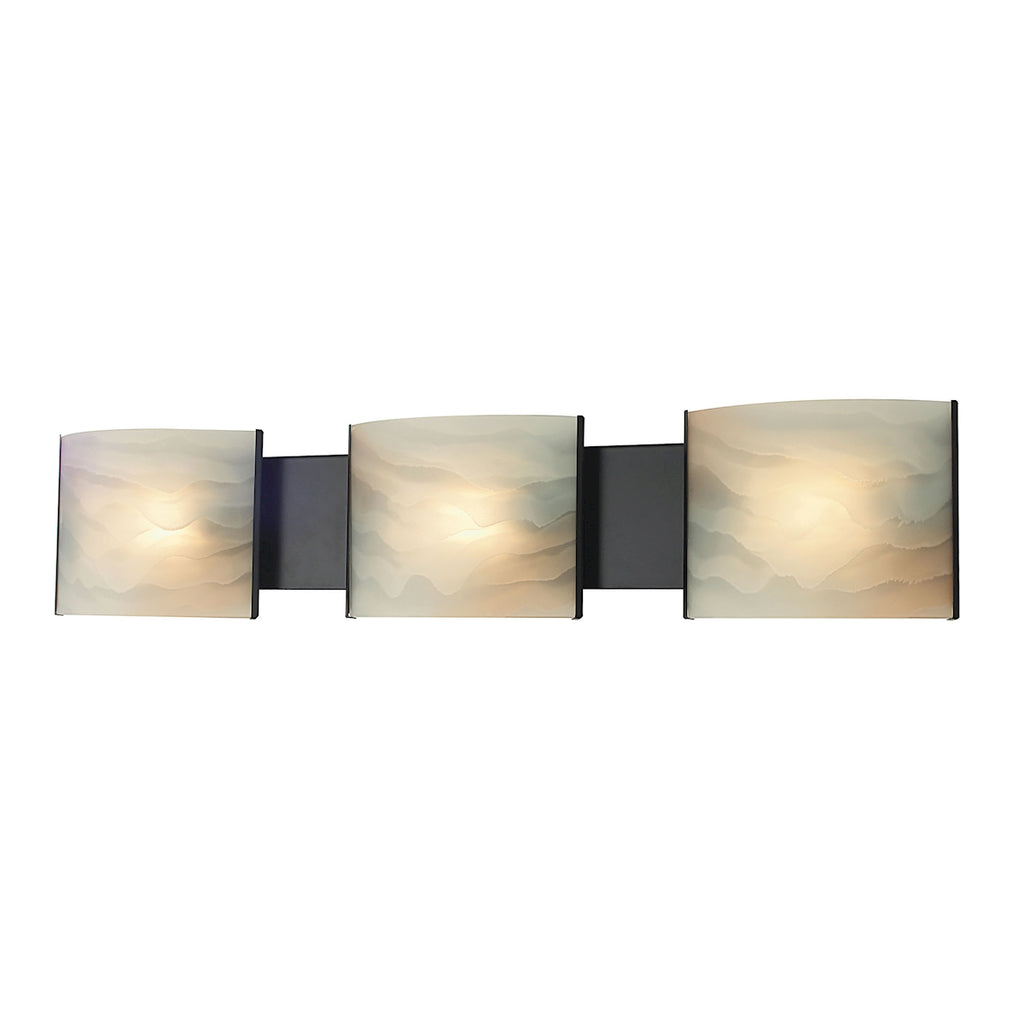 Pannelli 3-Light Vanity Sconce in Oil Rubbed Bronze with Hand-formed Honey Alabaster Glass