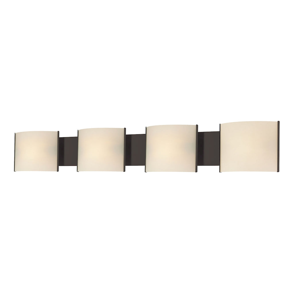 Pannelli 4-Light Vanity Sconce in Oil Rubbed Bronze with Hand-formed White Opal Glass