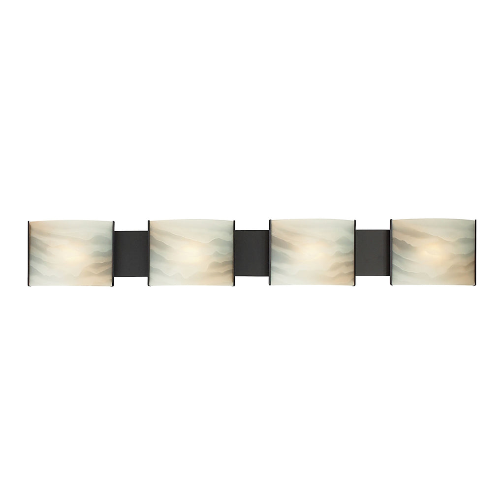 Pannelli 4-Light Vanity Sconce in Oil Rubbed Bronze with Hand-formed Honey Alabaster Glass
