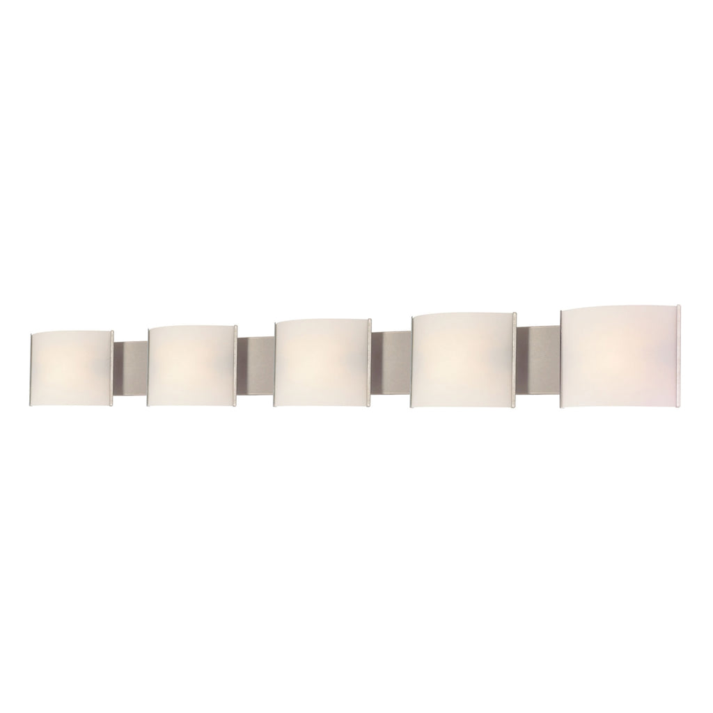 Pannelli 5-Light Vanity Sconce in Stainless Steel with Hand-formed White Opal Glass