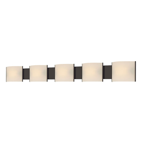 Pannelli 5-Light Vanity Sconce in Oil Rubbed Bronze with Hand-formed White Opal Glass