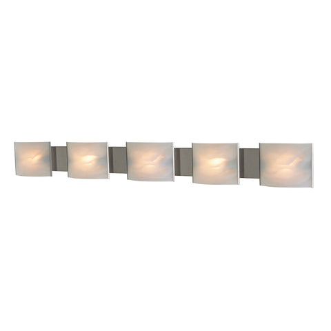 Pannelli 5-Light Vanity Sconce in Stainless Steel with Hand-formed White Alabaster Glass