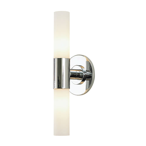 Double Cylinder 2-Light Vanity Lamp in Chrome with White Opal Glass