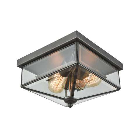 Lankford 2 Light Outdoor Flush In Oil Rubbed Bronze With Clear Glass
